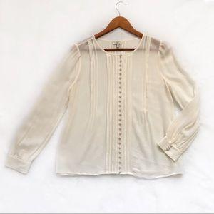 Joie silk chiffon blouse pintuck ivory size S